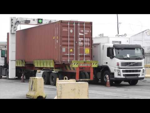 Customs show how X-ray trucks scan containers in the port ar