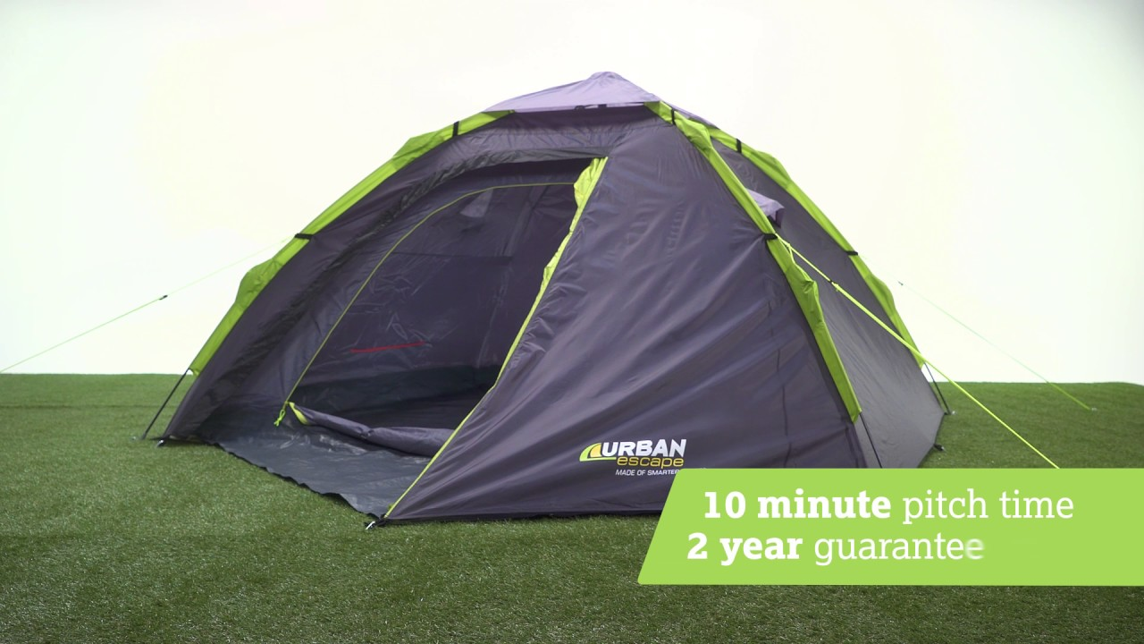 Urban Escape 4 Person Quick Up Dome Tent & Urban Escape 4 Person Quick Up Dome Tent - YouTube