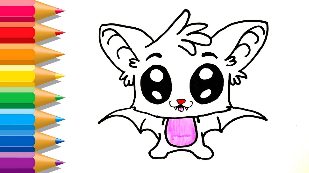 how to draw a so cute bat