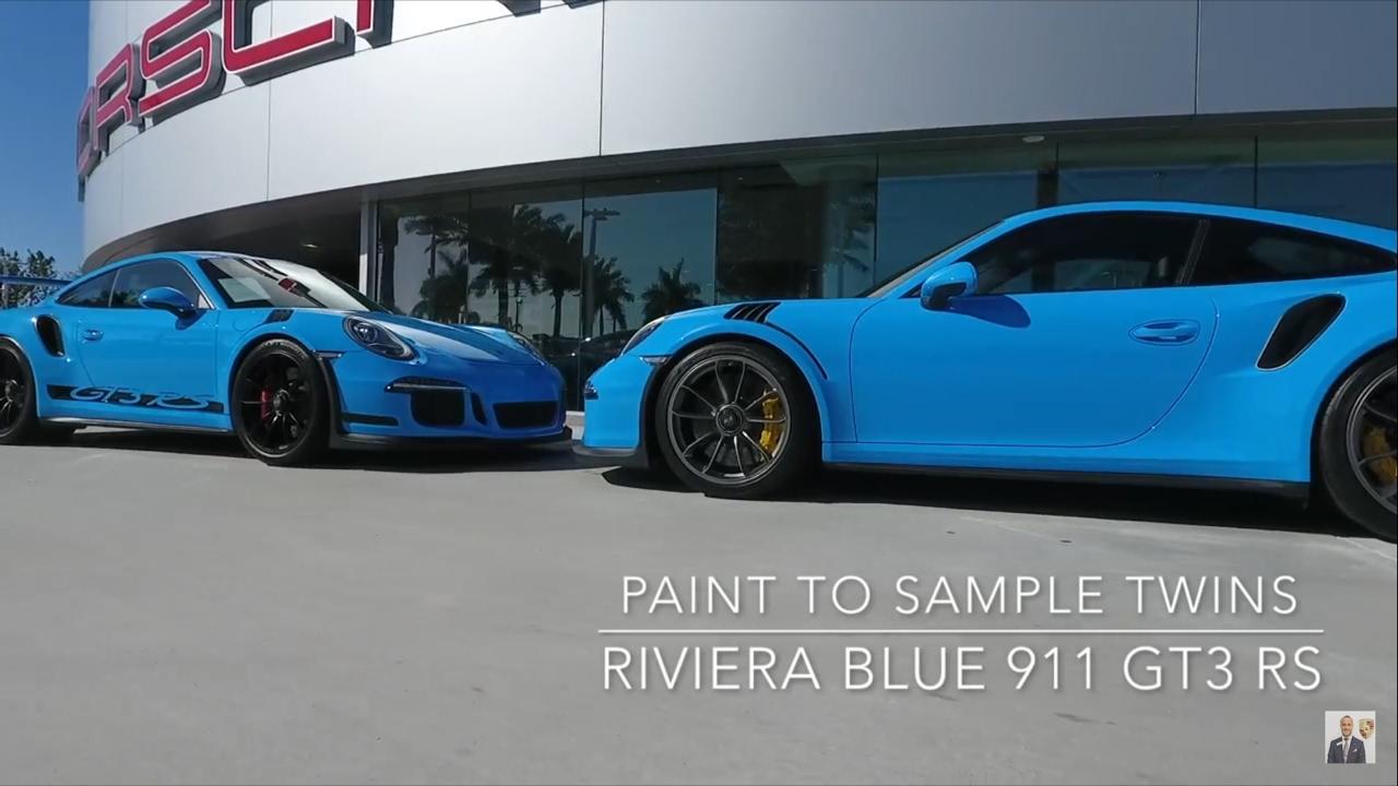 Twin Riviera Blue Porsche 911 GT3 RS Paint to Sample's @ Porsche ...