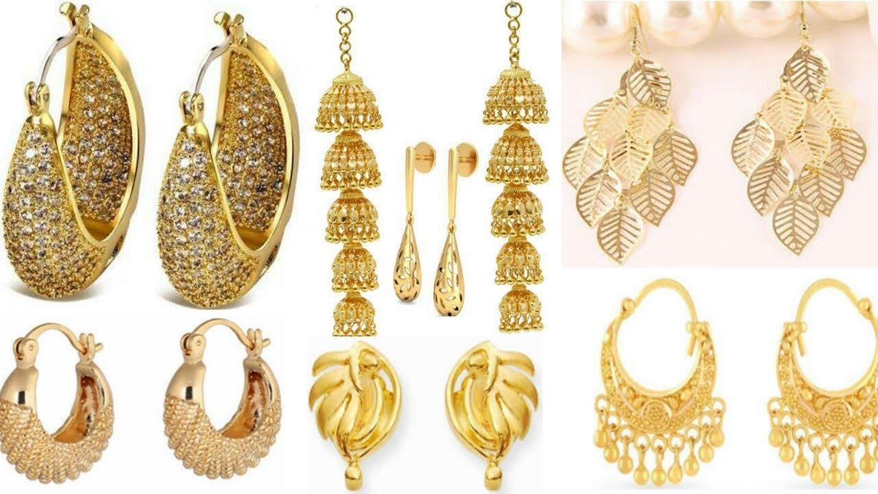 latest gold earrings design 2018 youtube