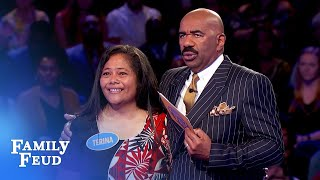 Terina and Sipau take a shot at $20,000! | Family Feud