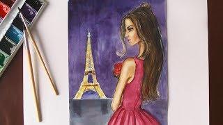 Как нарисовать девушку на фоне ЭЙФЕЛЕВОЙ БАШНИ (ПАРИЖ) | уроки рисования | Art School
