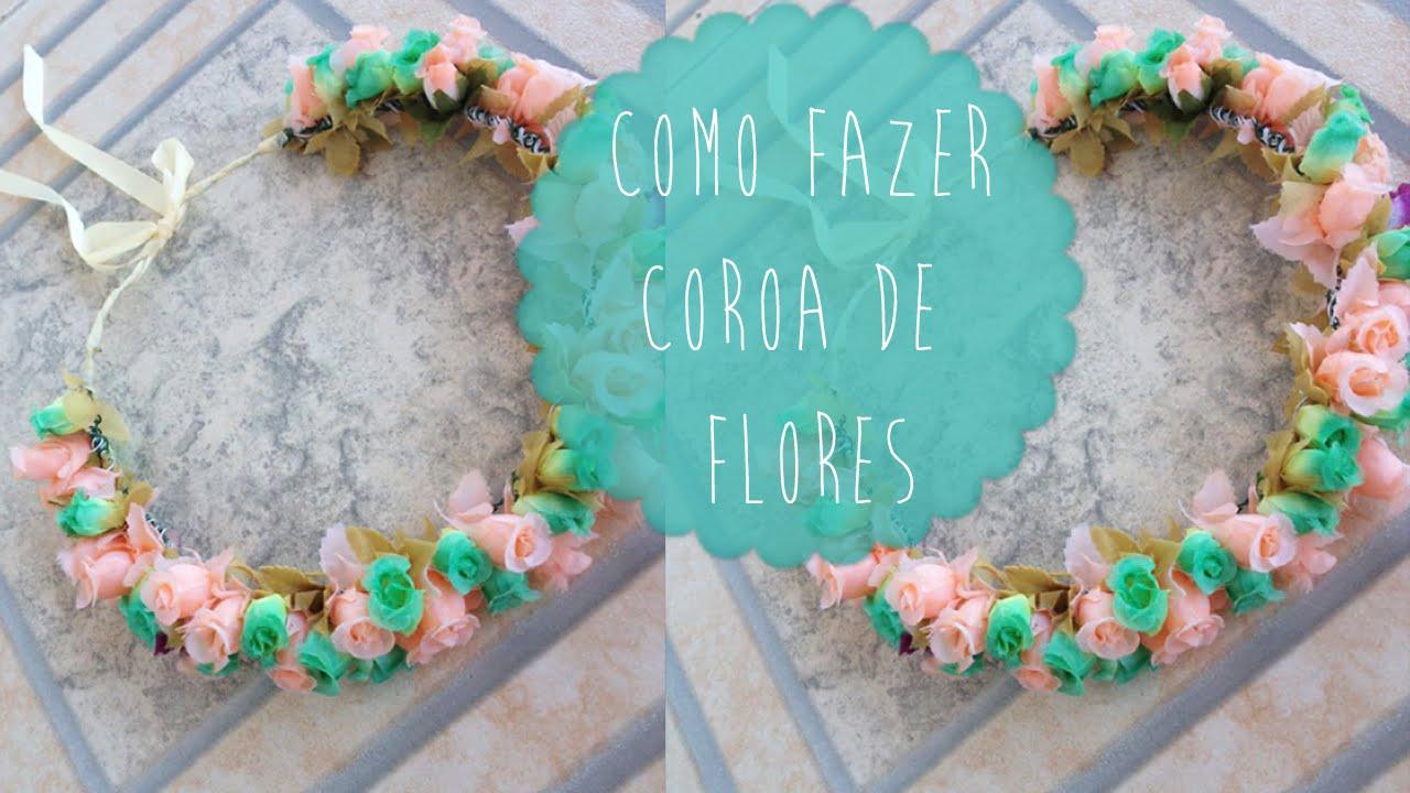 DIY  Como fazer coroa de flores   Aisha Faria - YouTube 5546e1dee6