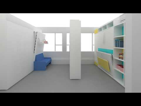 Amazing Space Saving Furniture (MOVABLE CABINET+WALL BED ) 20sqm