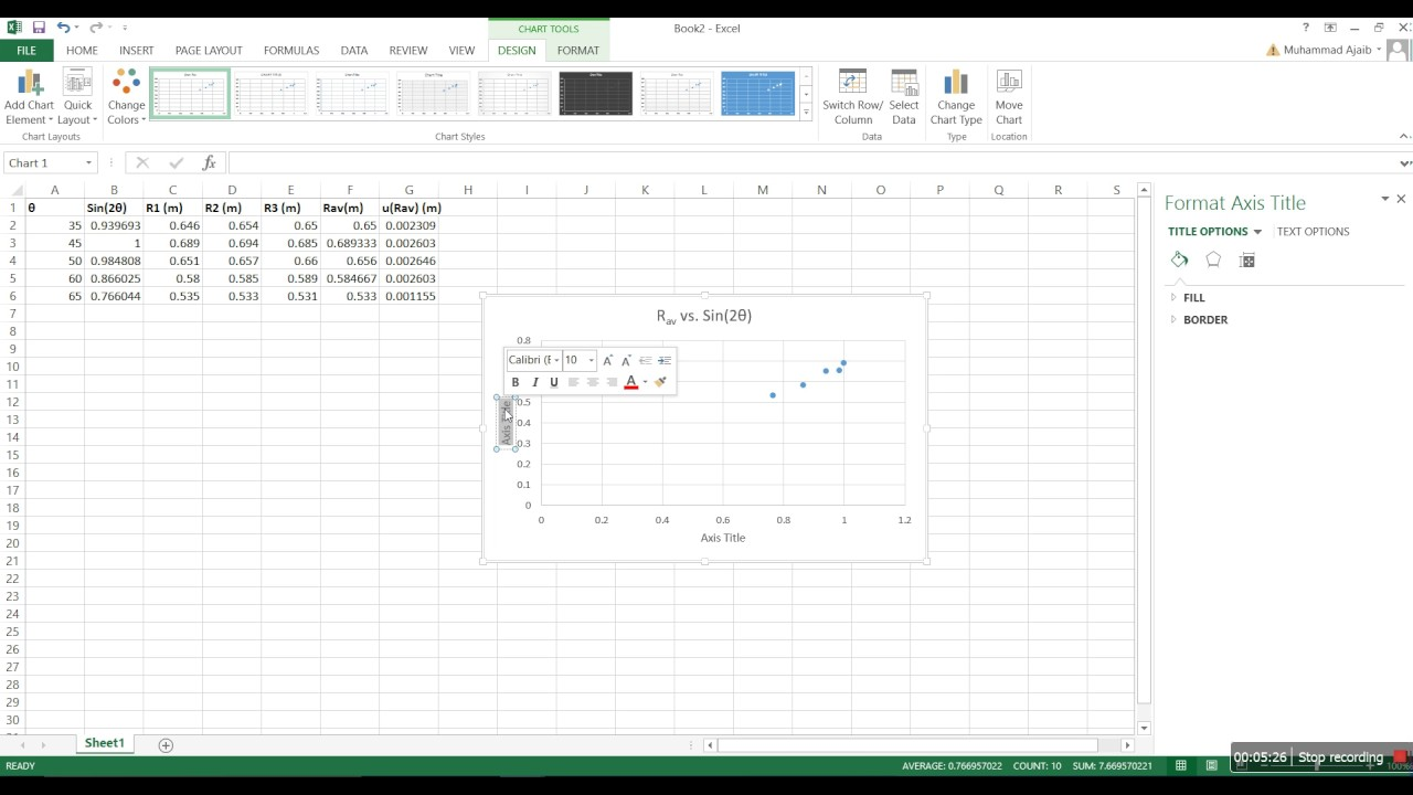 Projectile Motion Experiment (2)  Analysis of Sample Data