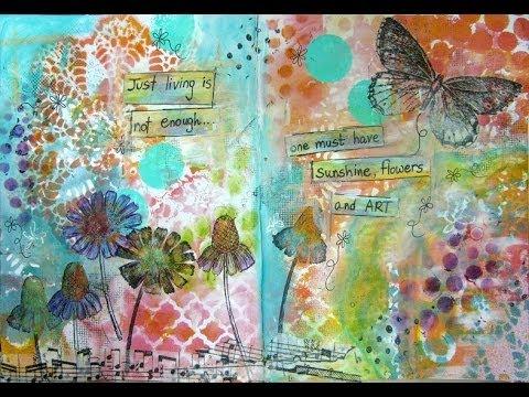 Mixed Media Art Journal Page: Flowers