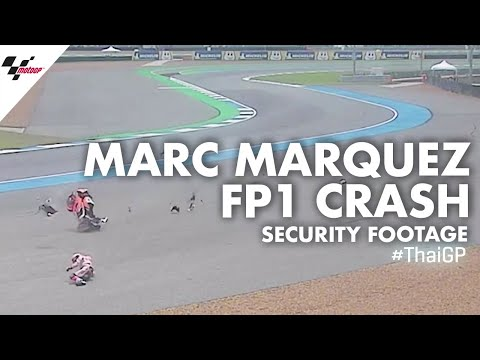 Marc Marquez' FP1 crash from the security camera | 2019 #ThaiGP