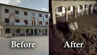 Sant Llorenc des Cardassar, before and after floods, Mallorca floods, Majorca flood