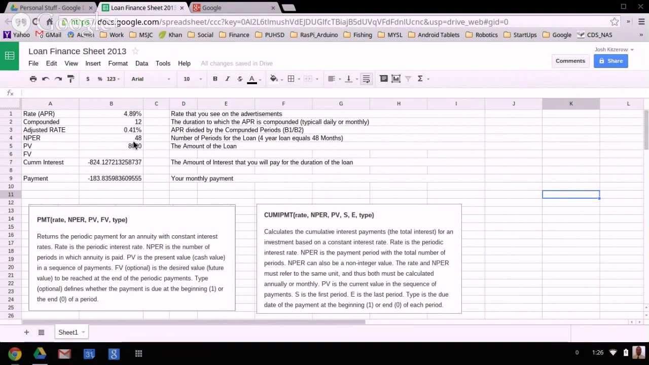 loan payment spreadsheet