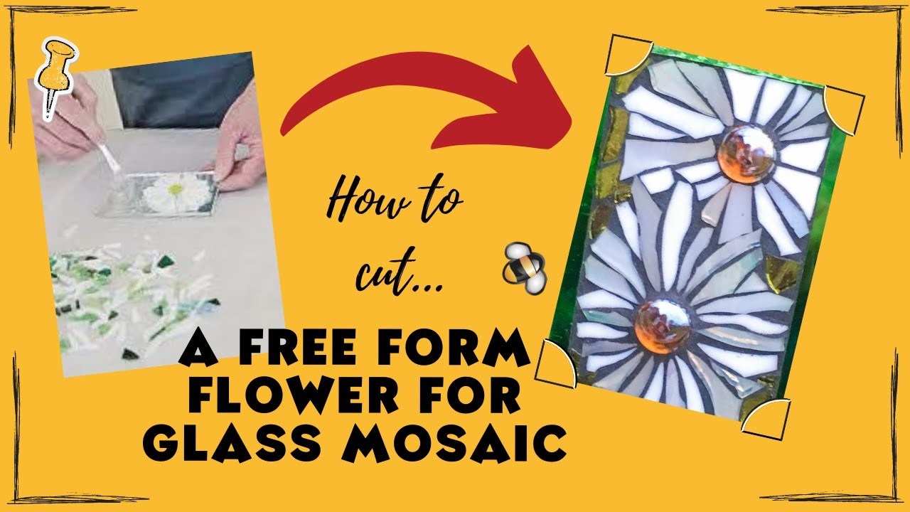 how to cut a free form flower in stained glass for mosaic