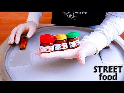 STREET FOOD |  ICE CREAM ROLL WITH Mini nutella ice cream Street Food ASMR