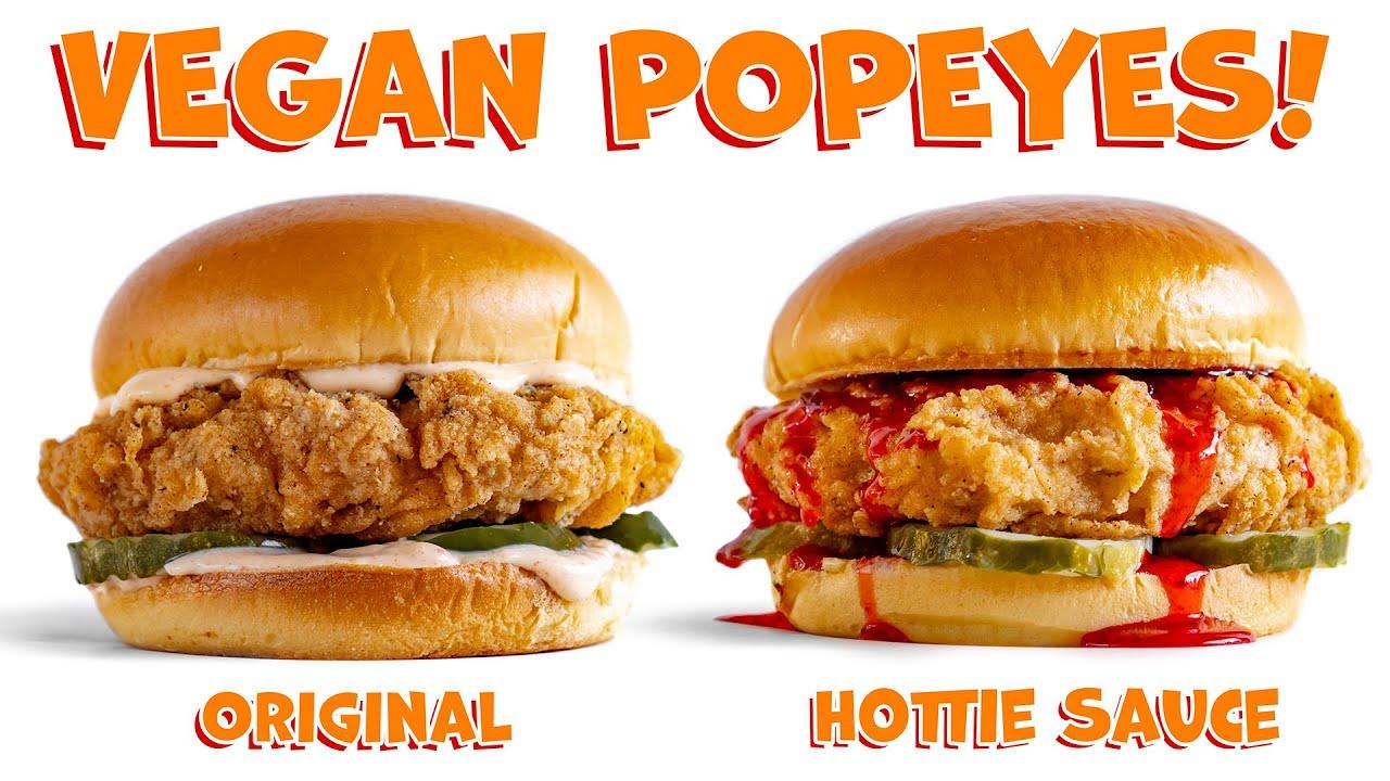 Vegan POPEYES Chicken Sandwich! Homemade! Original & Hottie Sauce by Megan Thee Stallion!
