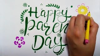 how to draw happy parents day in fancy letters