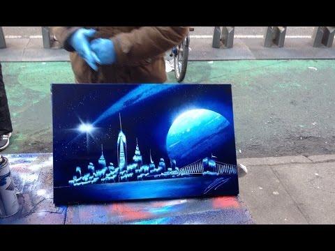 Spray Paint Art - Spray Street Art - Street Painting - YouTube