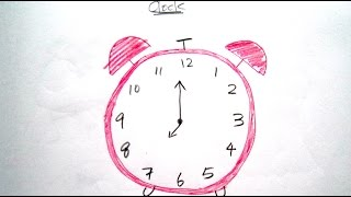 How to Draw Cartoon Clock 畫卡通鬧鍾 - Easy Drawing Tutorial for Beginners
