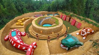 Build Underground Animals Zoo Around Water Slide Swimming Pool And Secret Underground House