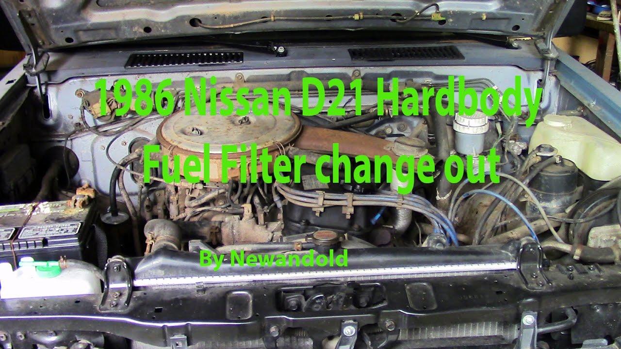 1986 Nissan D21 Hardbody Fuel Filter Change out (By Newandold)