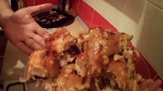 шикарная курица приготовленная в духовке с яблоками и мандаринами