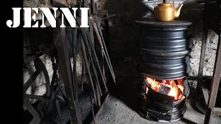 workshop wood stove made from car rims / welding project