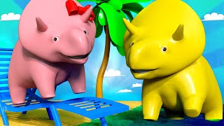 Special Summer - Learn numbers at the beach - Learn with Dino | Learning Videos for Children