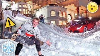 HOMEMADE GIANT SNOW SLIDE AT TEAM 10 MANSION {30 MPH} thumbnail