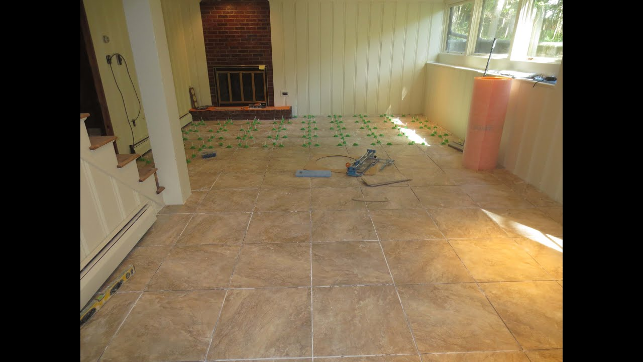 Tile Basement Floor how to tile a large basement floor part 1 installing schluter ditra How To Tile A Large Basement Floor Part 2 General Information Youtube