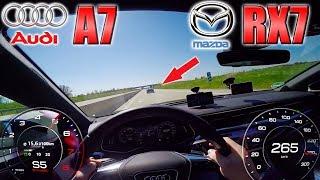 New A7 55 TFSI meets RX7 on German Autobahn!