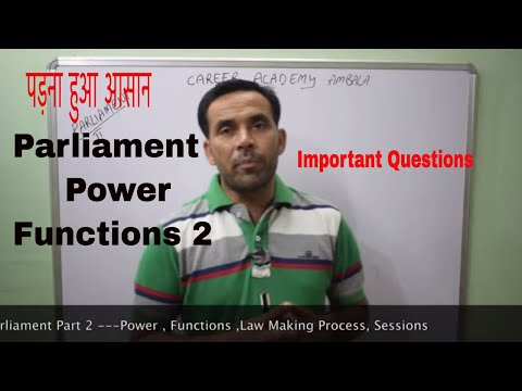 Parliament of India  Power & functions Part 2