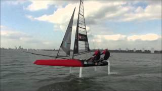 Whisper foiling catamaran launch at London dinghy ex