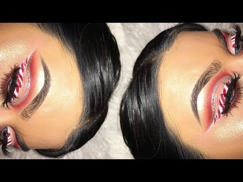 CHRISTMAS MAKEUP Candy Cane Cut Crease