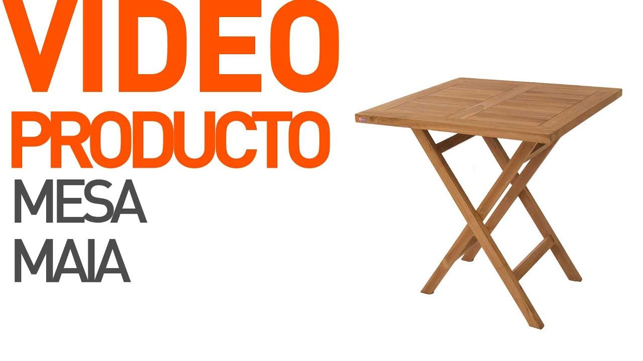 Mesa plegable madera teca para jard n maia youtube for Mesas de madera para jardin