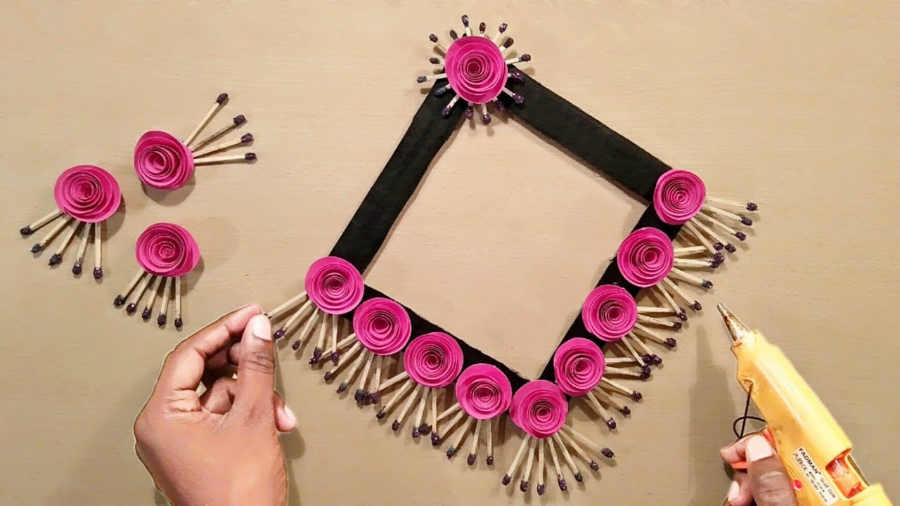 Home Decoration Ideas - Wall Decoration - Hanging Crafts - Paper Flowers - Matchstick Crafts