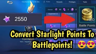 HOW TO CONVERT STARLIGHT POINT TO BATTLE POINTS | MOBILE LEGENDS | #skylergaming