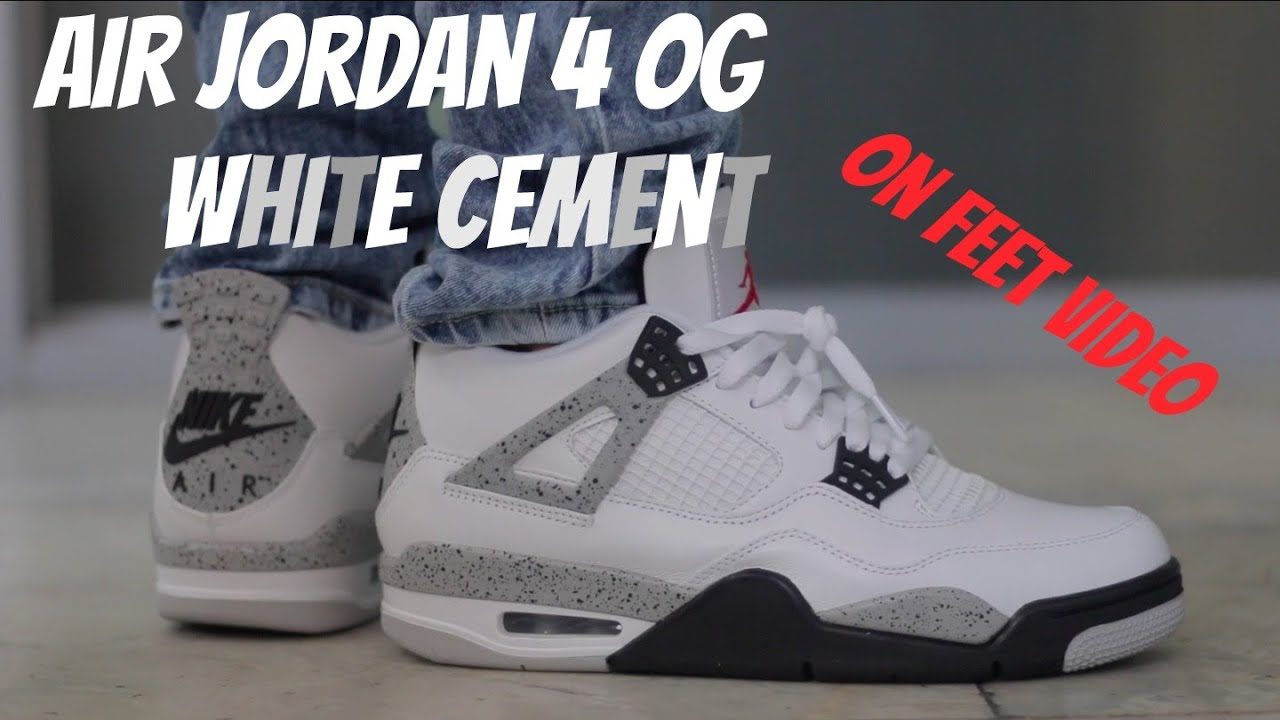83406575 ... czech 2016 jordan 4 white cement on feet youtube 473b7 415d5