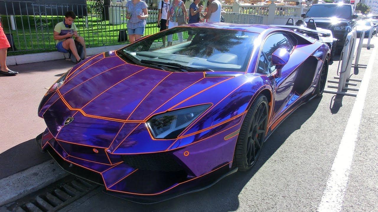 CHROME PURPLE TRON Aventador in Cannes - LOUD SOUNDS ...