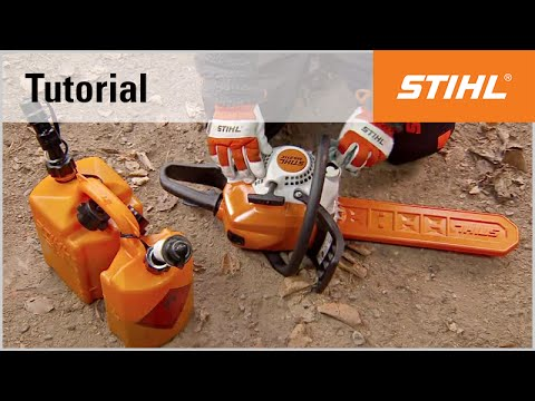 Filling a STIHL chainsaw with fuel and chain oil - YouTube