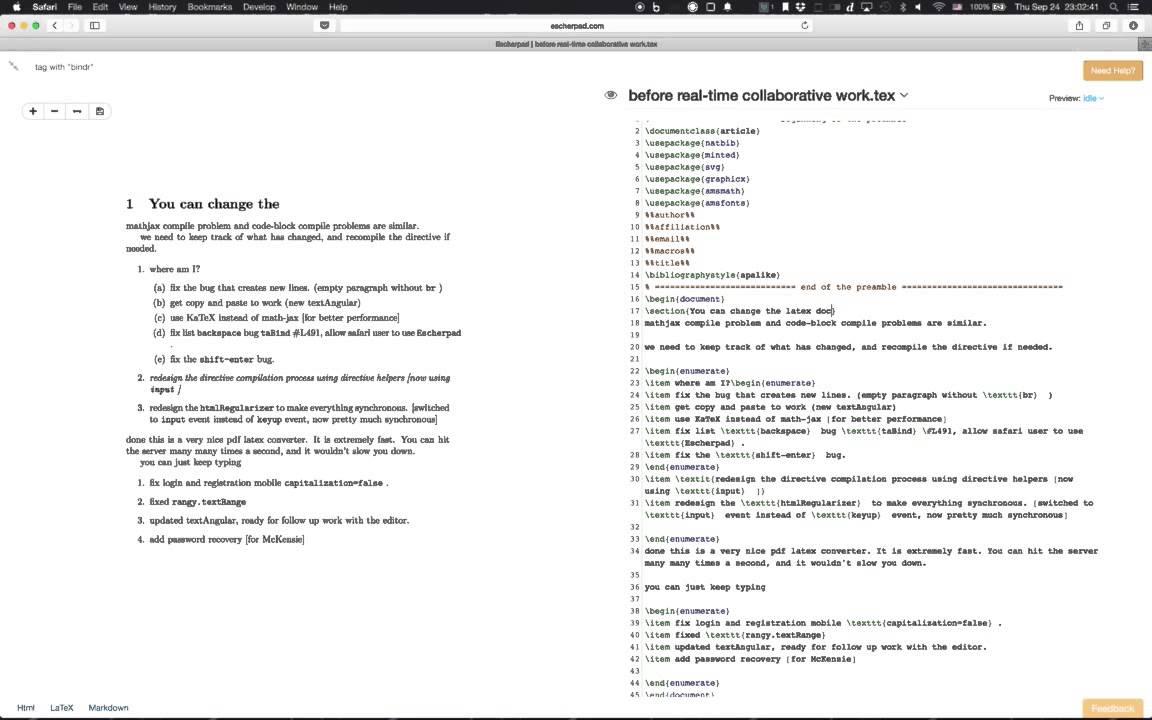 LaTeX Editing in Escherpad