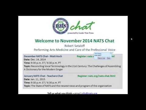 November 2014 NATS Chat with Robert Sataloff
