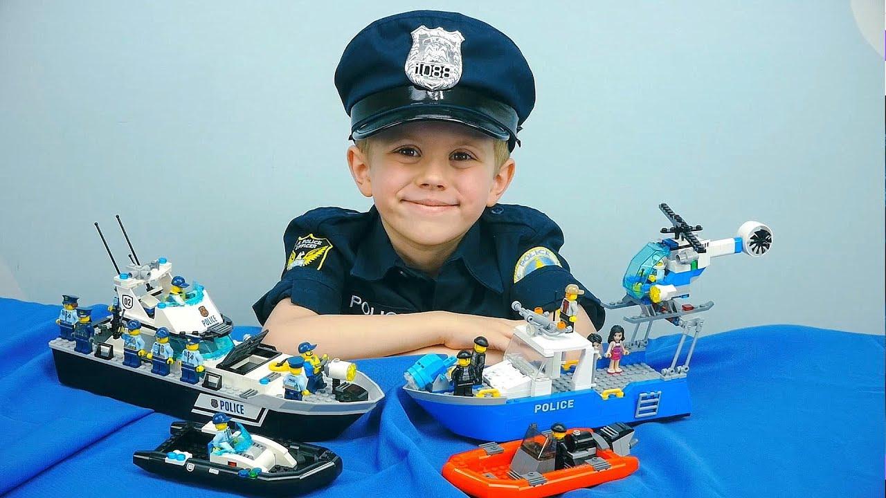 Полиция Лего Сити против Доктора ХА ХА и его Банды Пиратов - Патрульные катера и спасение детей