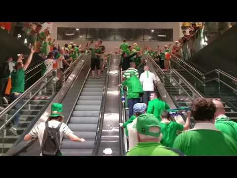 Irish fans take over Lille's main Metro station after Italy win! Euro 2016