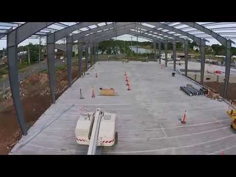 Stony Creek Brewery - Flight through steel frame of building.