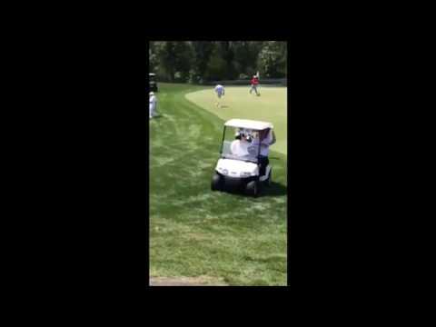 Donald Trump driving a golf cart on a golf green! - YouTube