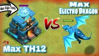 OMG! MAX TH12 Giga Tesla VS The Max ELECTRO DRAGON One On One battle!! | Clash Of Clans HINDI