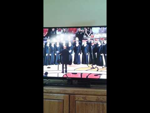 Cavs vs Heat National Anthem Christmas 12/24/2014