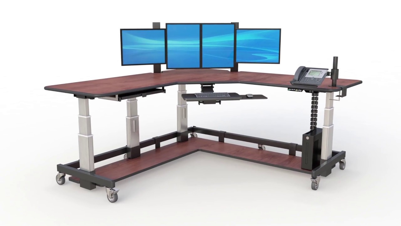 uk availability f6be1 e5f1e L-shaped Adjustable Uplift Sit Stand Up Desk
