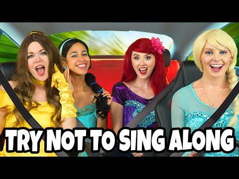 TRY NOT TO SING ALONG DISNEY PRINCESS CARPOOL KARAOKE WITH FROZEN ELSA BELLE ARIEL JASMINE