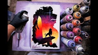 The Lion King - Glow in the Dark - SPRAY PAINT ART by Skech