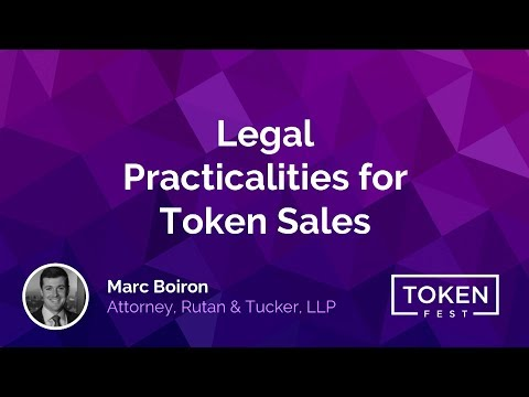 Marc Boiron - Legal Practicalities for Token Sales