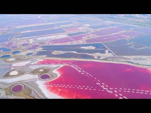 Aerial view of amazing multi-colored N China lake